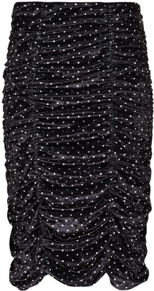 Ganni Polka-Dot Ruched Skirt