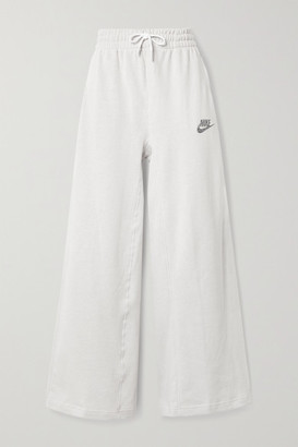 Nike Sportswear Cotton-blend Jersey Wide-leg Track Pants - Off-white