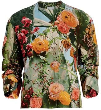 Akris Punto Cactus Blossum Collarless Jacket