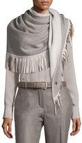 Loro Piana Cashmere Semicircle Shawl w/Leather Fringe, Taupe