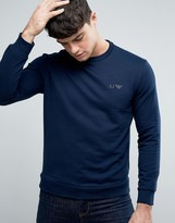 Armani Jeans Logo Crew Sweatshirt Regular Fit in Navy