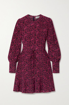Rebecca Vallance Rosette Belted Floral-print Silk Crepe De Chine Mini Dress - Magenta