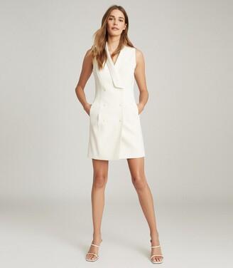 Reiss Antoine - Sleeveless Tuxedo Dress in White