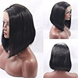 EO Short Bob Synthetic Lace Wig Short Straight Hair For Black Women Cheap Black Color Lace Front Synthetic Wig (14in, #27 blonde)