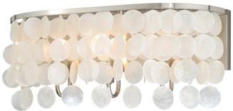 Vaxcel Elsa 1 Light Satin Nickel Capiz Shell Coastal Bathroom Wall Fixture, 2