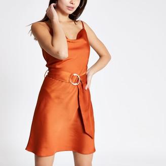 River Island Womens Rust cowl neck belted slip dress