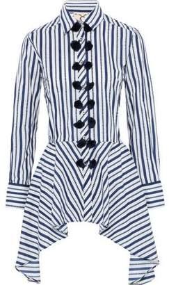 Figue Marta Tassel-trimmed Striped Cotton-poplin Peplum Shirt