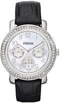 Fossil Women's ES2969 Black Leather Quartz Watch with Dial