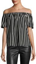 French Connection Off-The-Shoulder Striped Crepe Top, Black/White