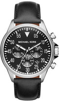 Michael Kors 45mm Gage Leather Strap Watch, Black