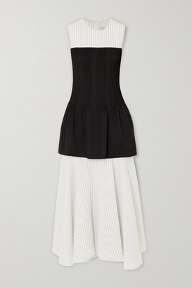 Nina Ricci Layered Pintucked Wool-twill And Seersucker Midi Dress - Off-white