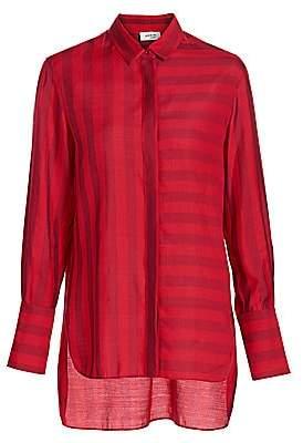Akris Punto Women's Tonal Stripe High-Low Blouse