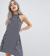 Asos Design Petite Halter Swing Sundress In Cut About Stripe