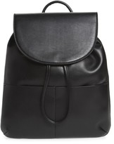 BP Drawstring Faux Leather Backpack - Black