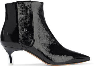 Casadei Cracked Patent-leather Ankle Boots