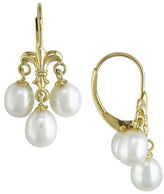 Concerto 5-6MM White Rice Cultured Pearl and 14K Yellow Gold Fleur-de-Lys Earrings