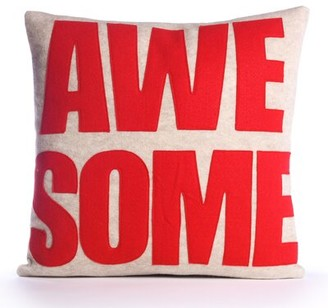 Alexandra Ferguson Celebrate Everyday Awesome Linen Throw Pillow Color: Oatmeal / Red