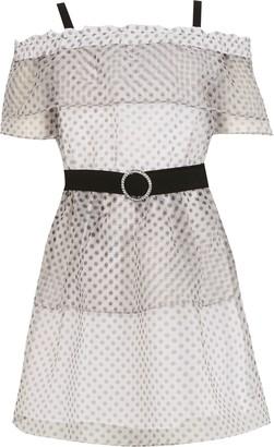 River Island Girls White polka dot organza bardot dress