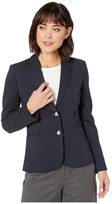 Lauren Ralph Lauren Pinstripe Ponte Jacket (Lauren Navy Multi) Women's Clothing