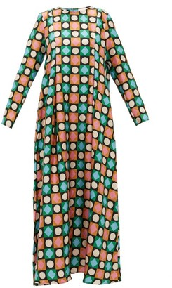 La DoubleJ Trapezio Lucky Charms-print Silk Maxi Dress - Multi
