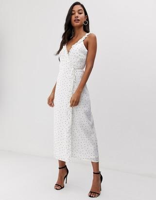 Fashion Union wrap midi dress in polka dot-White