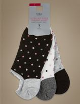 Marks and Spencer 3 Pair Pack Ultra No Show Trainer Liner Spotted Socks