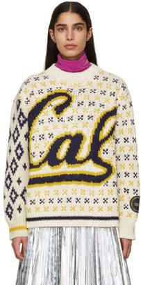 Calvin Klein Off-White and Navy Berkeley Edition University Sweater