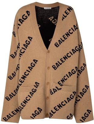Balenciaga Logo intarsia wool cardigan