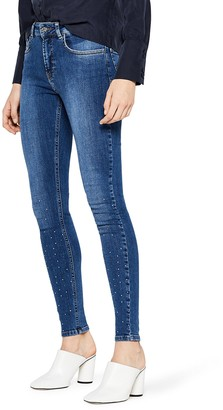Find. Amazon Brand Women's Skinny Mid Rise Embellished Stretch Jeans