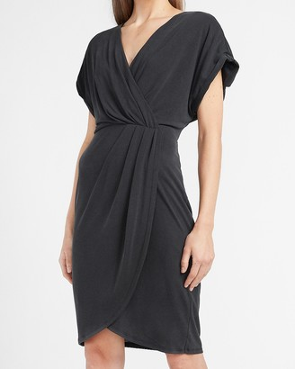 Express Pleated Knit Wrap Front Dress