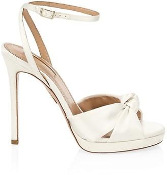 Aquazzura Chance Knotted Platform Satin Sandals