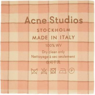 Acne Studios Pink Check Logo Scarf