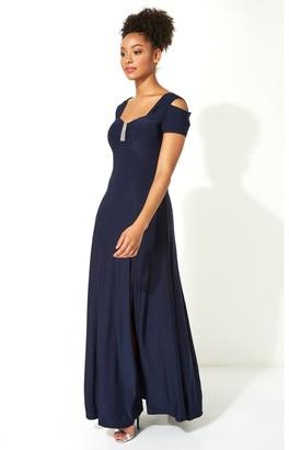 M&Co Roman Originals diamante cold shoulder maxi dress