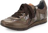 Ron White Jenni Camouflage-Print Leather Sneaker, Bronze/Camo