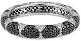 Ri Noor Lotus Eternity Band With White Diamond Petals & Pave Black Diamonds