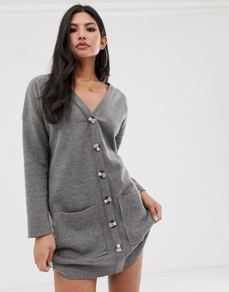 ASOS DESIGN oversized super soft button through dress in grey marl