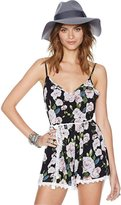 NiSeng Women's Print Strap Sleeveless Short Jumpsuit Rompers with Lace Belt XS