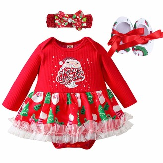 FYMNSI Baby Girl My First Christmas Outfit Infant Babies 1st Xmas Party Dress Princess Tutu Romper with Shoes Headband 3pcs//Set Reindeer Xmas Tree Print Bodysuit Jumpsuit Photo Props for 0-18 Months