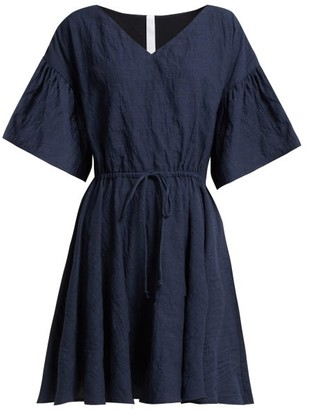 Merlette New York Drawstring-waist Cotton Mini Dress - Womens - Indigo