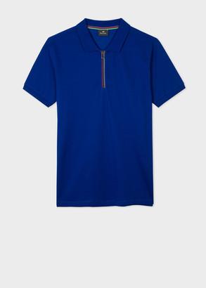 Paul Smith Men's Indigo Cotton Polo Shirt With 'Sports Stripe' Half-Zip
