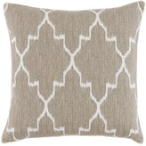 The Well Appointed House Monaco Beige and White Linen Pillow with White Eyelash Trim
