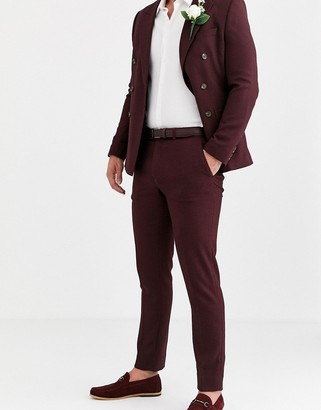 ASOS DESIGN wedding skinny suit pants in micro texture in burgundy