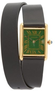 La Californienne Vintage Cartier Tank 18kt Gold-plated Watch - Green Multi