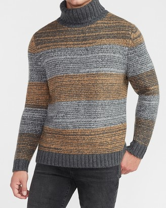 Express Cozy Marled Stripe Turtleneck Sweater