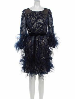 Marchesa Lace Pattern Knee-Length Dress Blue