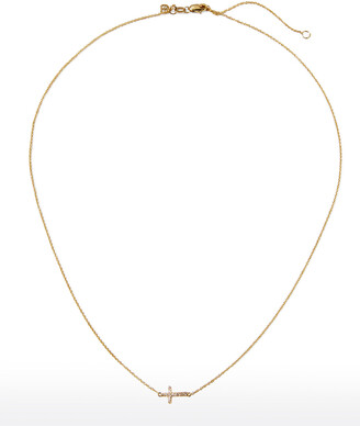 Sydney Evan Small Gold Pave Diamond Cross Necklace