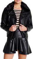 Jessica Simpson Raven Faux Fur Collar Moto Jacket