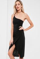 Missguided Black Slinky One Shoulder Midi Dress
