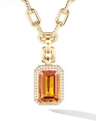 David Yurman Novella 18k Citrine Pendant w/ Diamonds