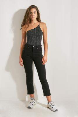 Out From Under Cora Shimmer One-Shoulder Bodysuit - black S at Urban Outfitters